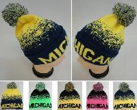 Knitted Hat with PomPom [MICHIGAN] Digital Fade